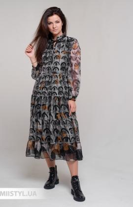 Платье Lady Form 7018 Горчичный/Принт