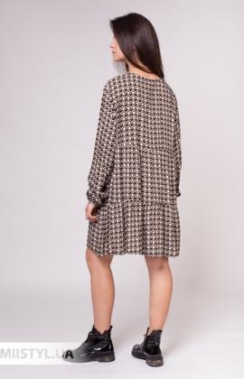 Платье Zelante 7440 Серый/Черный/Принт