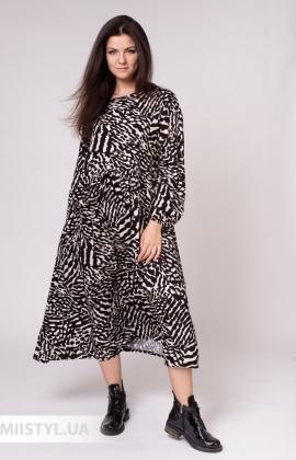 Платье Zelante 5607-8 Черный/Молочный/Принт