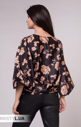 Блуза Lumina 3716 Черный/Карамель/Принт