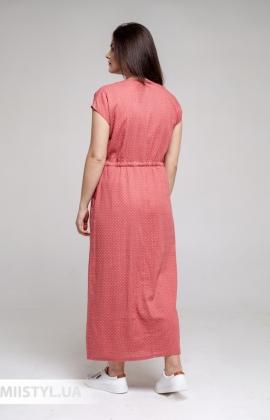 Платье Рута С 4351ЛН/1 Темно-коралловый/Горох