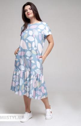 Платье La Fama 1722-B Голубой/Принт