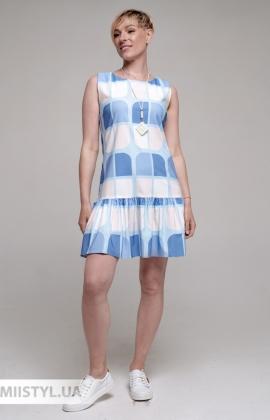 Платье La Fama 1741 Голубой/Бежевый/Принт