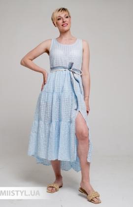 Сарафан Betty & Co K0226 Голубой/Клетка