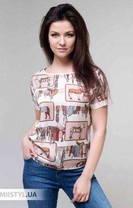 Блуза Pretty Lolita 13099 Молочный/Бежевый/Принт