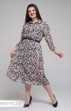 Платье Body form 2038B Коричневый/Бирюзовый/Принт