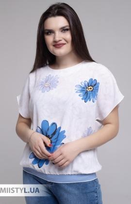 Блуза Merkur 0926111 Молочный/Синий/Принт