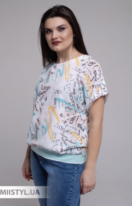 Блуза Merkur 0866103 Белый/Мятный/Принт