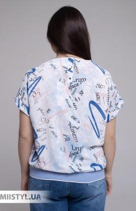 Блуза Merkur 0866103 Белый/Индиго/Принт