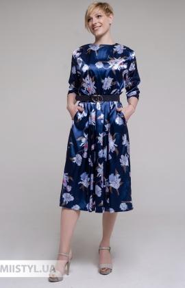 Платье La Fama 1691 Синий/Принт