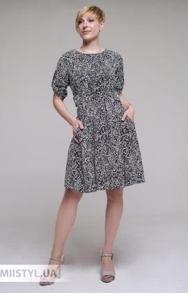 Платье F&K 3006 Черный/Белый/Принт