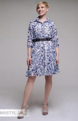 Платье F&K 3009 Молочный/Голубой/Принт