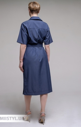 Платье La Julyet 6725 Джинсовый/Бордовый/Принт