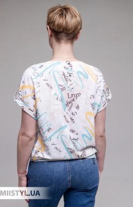 Блуза Merkur 0865103 Белый/Мятный/Принт