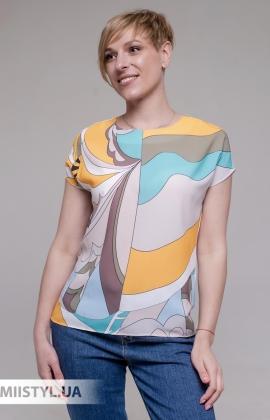 Блуза Merkur 0915104 Белый/Желтый/Принт