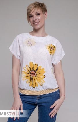 Блуза Merkur 0925111 Молочный/Желтый/Принт