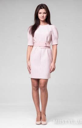 Платье F&K 3439 Пудра/Серебристый/Полоска