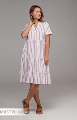 Платье Sisline 4815 Белый/Сиреневый/Полоска