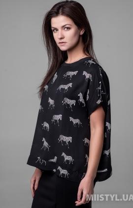 Блуза Miss Lilium M20K20747AW Черный/Белый/Принт