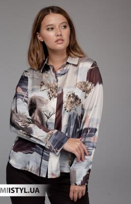Блуза Merkur 0075133 Серый/Бежевый/Принт