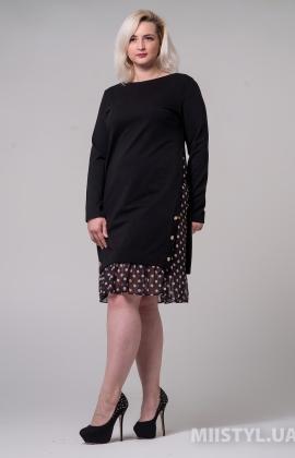 Платье Micorazon 2121-B Черный/Бежевый/Горох