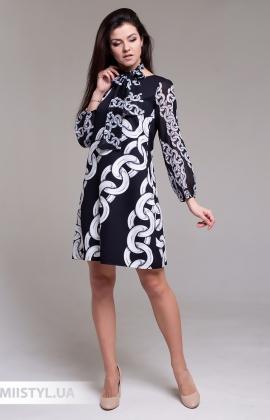 Платье La Fama 1493 Черный/Белый/Принт