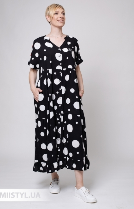 Платье Stella 10352-01 Черный/Белый/Горох