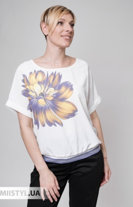Блуза Fusion 53934M Белый/Сиреневый/Принт