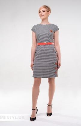 Платье Lady Morgana 5114 Черный/Коралловый/Лапка