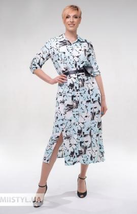 Платье DZYN 9131 Белый/Мятный/Принт