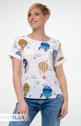 Блуза Pretty Lolita 13406 Белый/Синий/Принт