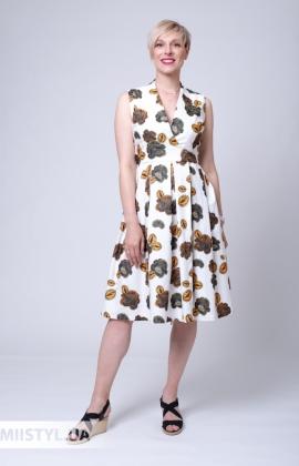 Платье Asil 980-18028 Молочный/Хаки/Принт