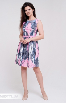 Платье La Fama 1357 Серый/Розовый/Принт