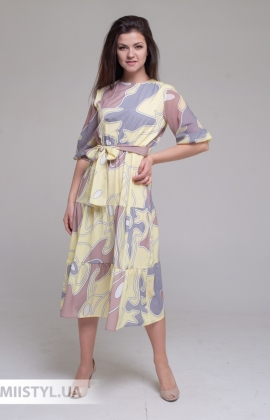 Платье La Fama 1658 Желтый/Принт