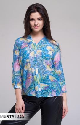 Блуза Lara LA2160 Голубой/Принт